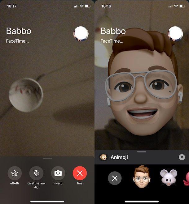 Usare Memoji con FaceTime