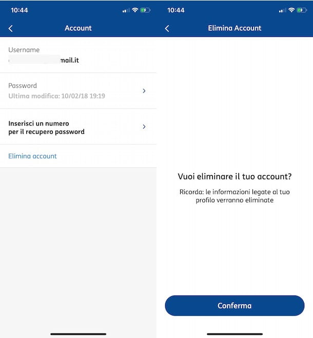 Come eliminare account MyTIM Mobile