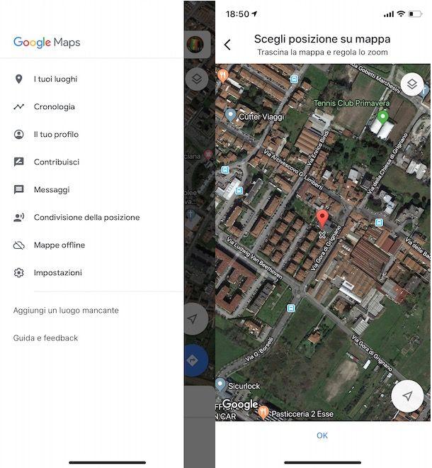 Aggiornare posizione Google Maps