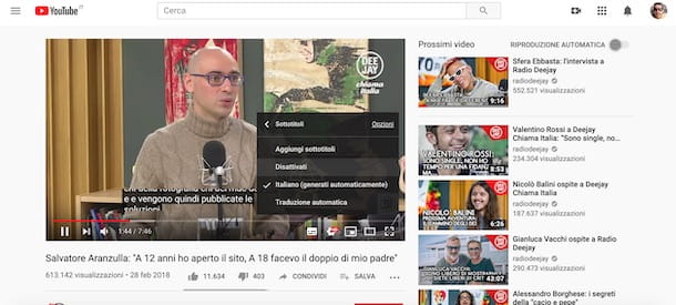 Sottotitoli YouTube