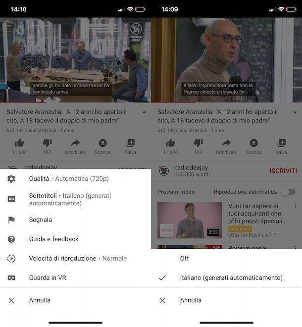 Come togliere sottotitoli da YouTube