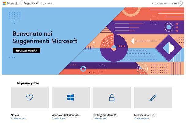 Suggerimenti Microsoft