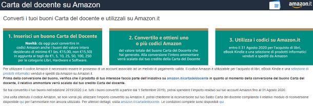 Come creare un buono Amazon con carta del docente