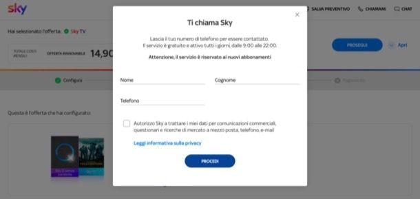 Attivare offerta Sky telefonicamente