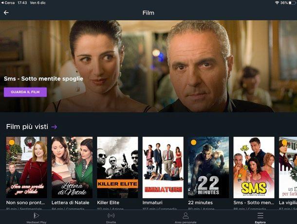 Mediaset Play su iPad
