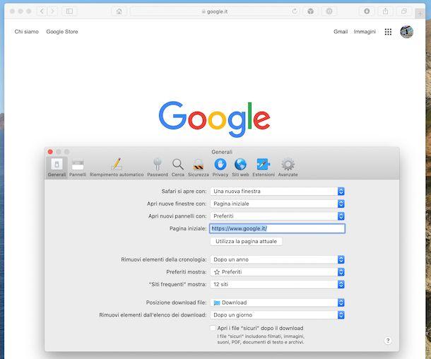 Impostare Google come pagina iniziale su Safari su Mac