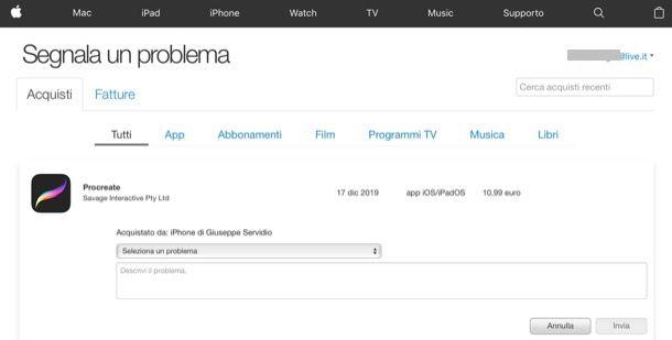 Segnala un problema App Store