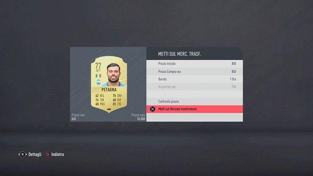 Vendi giocatori FIFA Ultimate Team