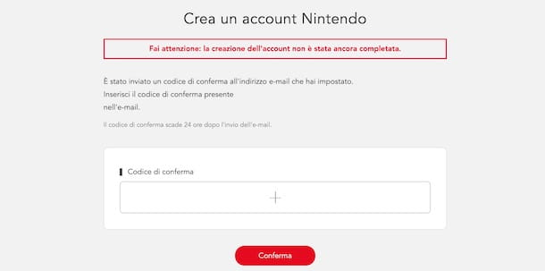 Confermare account Nintendo
