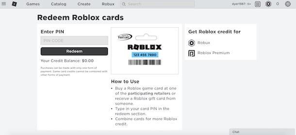 Carta regalo Roblox