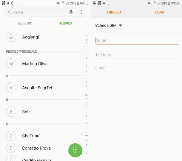 Salvataggio nuovo contatto su SIM da smartphone Samsung