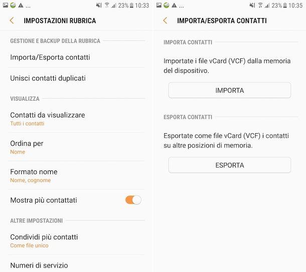 Esportazione contatti su SIM da Samsung