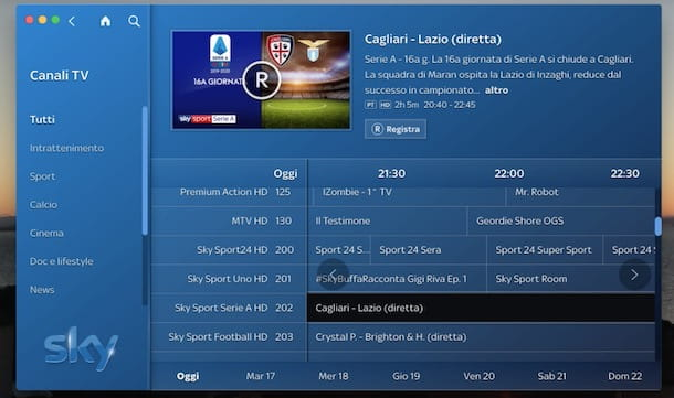 Come registrare partita su Sky Go
