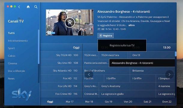 Come registrare programmi su Sky Go