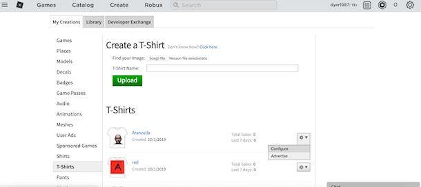 Vendere oggetti su Roblox