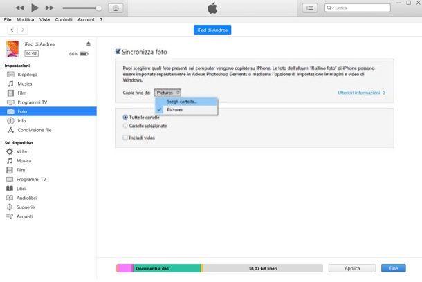 Come sincronizzare foto su iPad