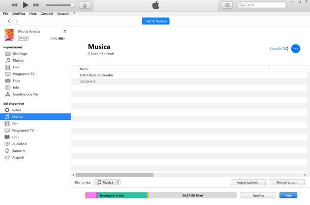 Copiare file su iPad