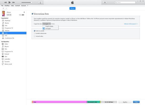 Come sincronizzare foto su iPhone con iTunes