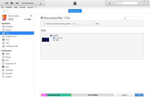 Come sincronizzare film iPad