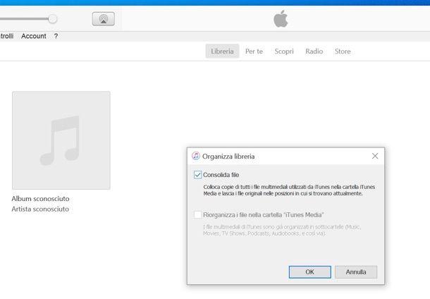 Consolidamento libreria iTunes