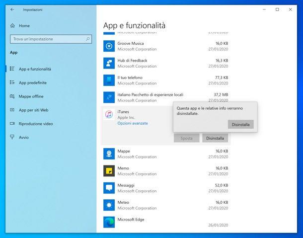 Disinstallazione programmi su Windows 10