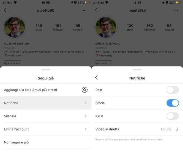 Attivare notifiche storie Instagram iPhone
