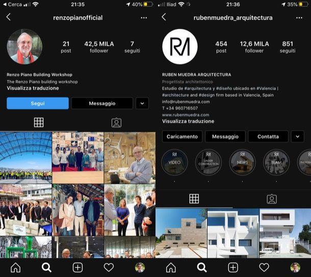 Migliori profili Instagram architettura