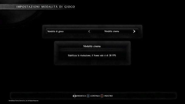 Modalità cinema Nioh PS4