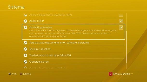 Modalità potenziata PS4 Pro