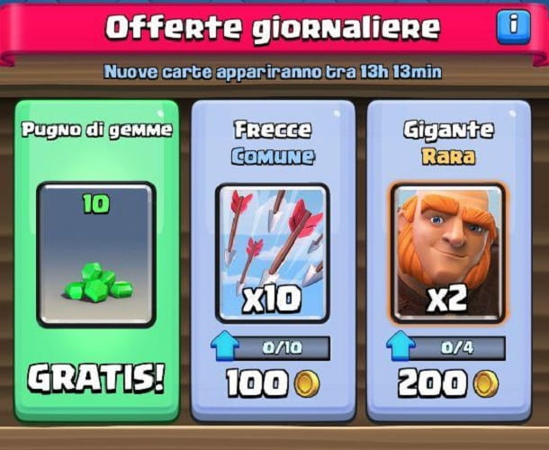 Offerte giornaliere Clash Royale