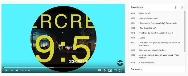 Trascrizione sottotitoli YouTube