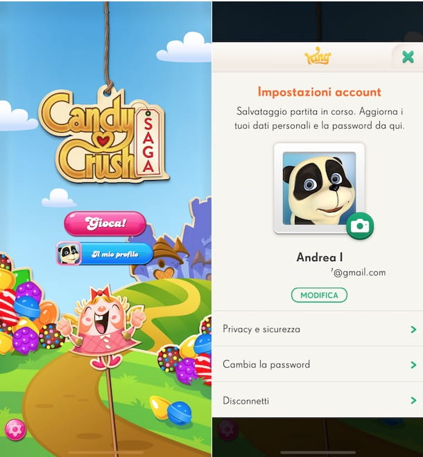 Come cambiare account Candy Crush Saga
