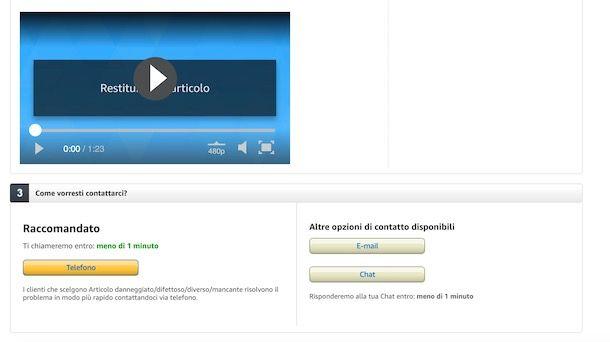 Soluzioni per contattare Amazon