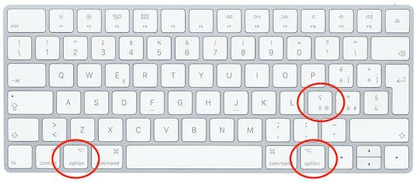 Combinazione di tasti per fare la chiocciola su Mac