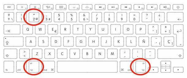 Combinazione di tasti per fare la chiocciola su Mac con tastiera spagnola