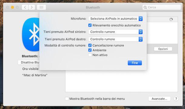 Impostazioni AirPods macOS