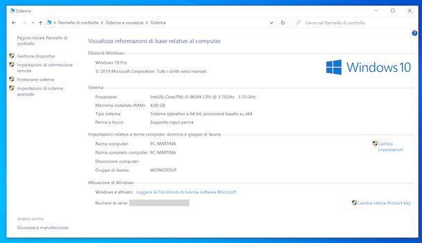Versione Windows da Pannello di controllo