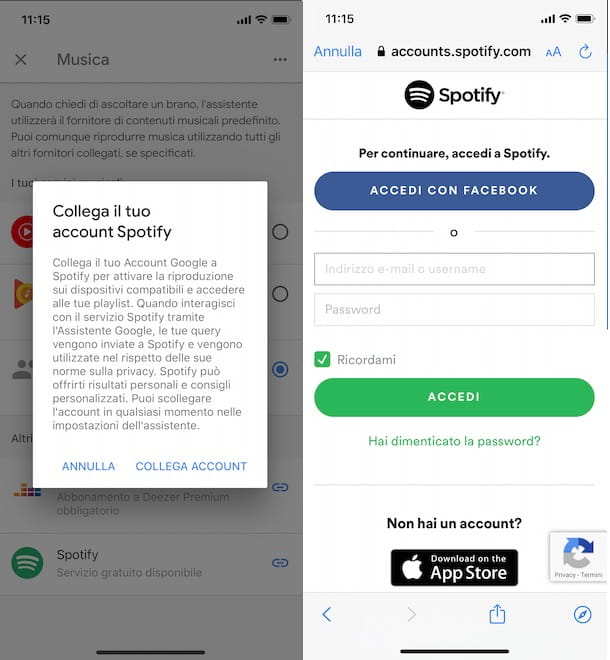 Collegare Spotify a Google Home