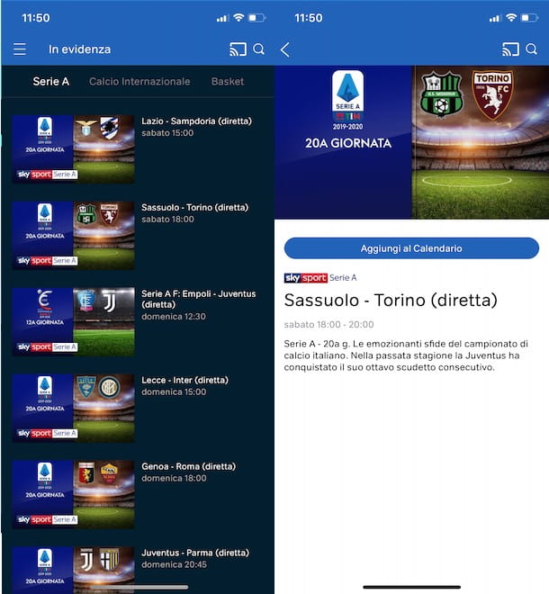 Vedere le partite di Serie A su NOW TV