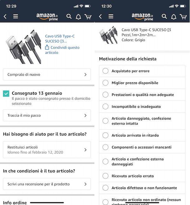 Fare reso da app Amazon