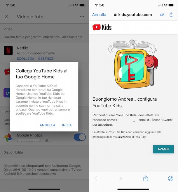 Collegare YouTube Kids a Google Home