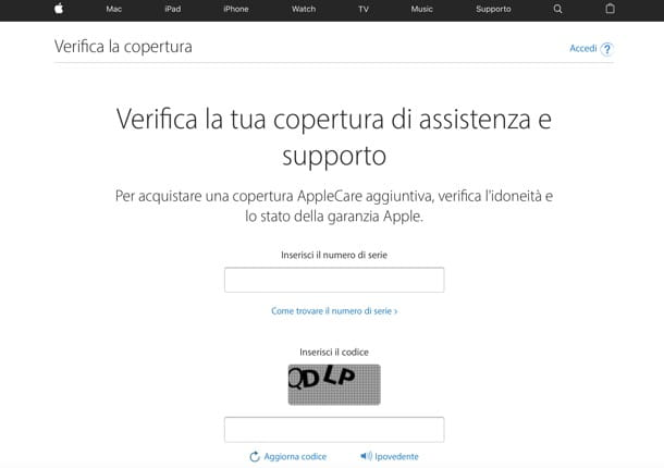 Verifica garanzia iPhone