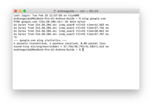 Come pingare un sito su Mac