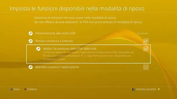 Abilita accensione PS4 rete
