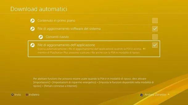 Aggiornamento applicazione PS4