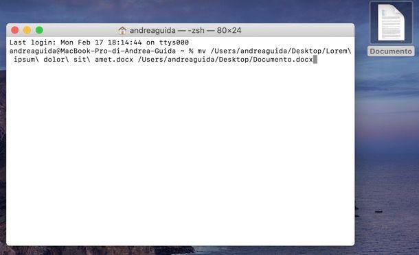 Come rinominare file in Terminale Mac