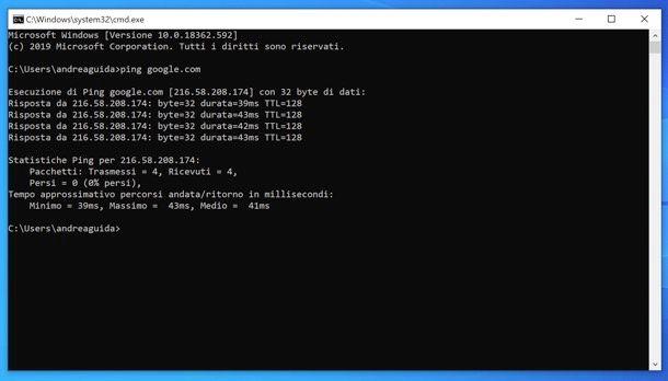 Come pingare un sito su Windows