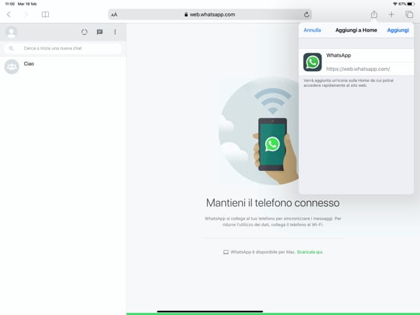 WhatsApp Web su iPad