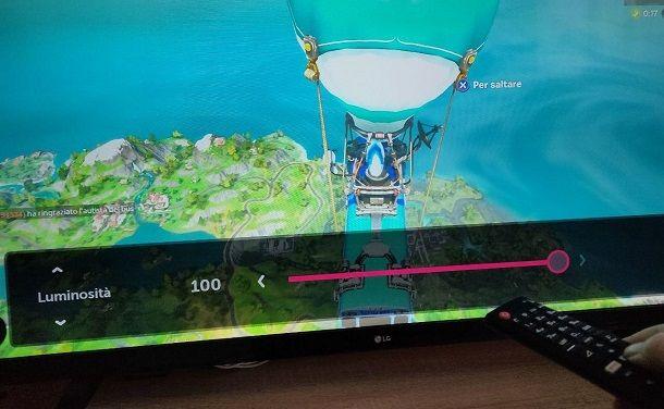Cambia impostazioni televisore Fortnite