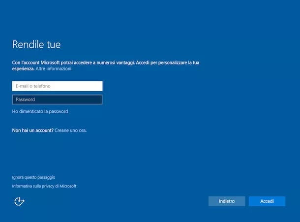 Configurazione Windows 10